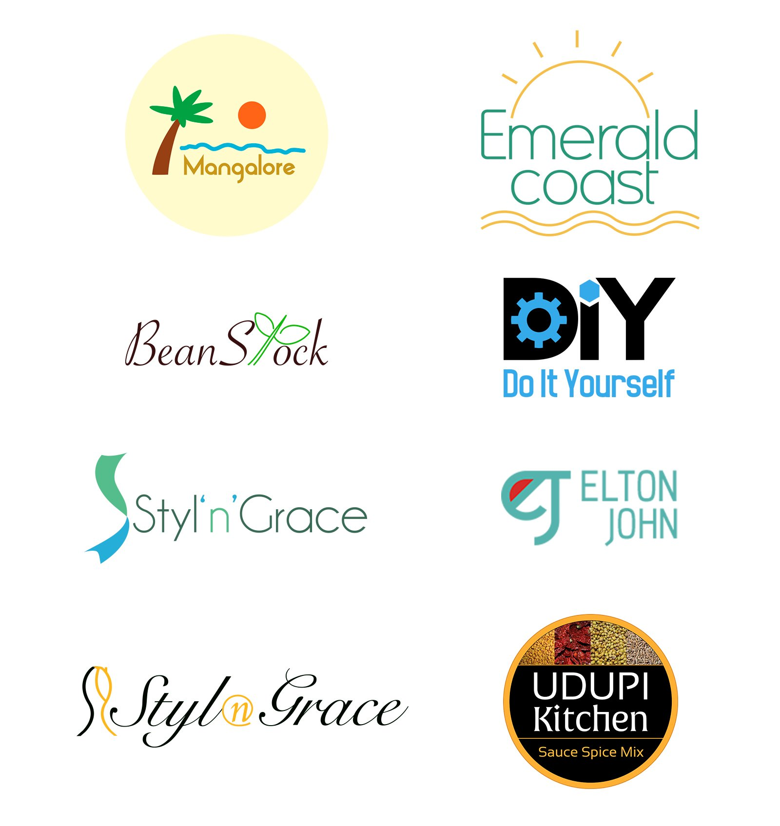 Logo Design for Mangalore - my home town, Emerald Coast Florida, BeanStock - coffee company, DIY, Styl'n'Grace - a Fashion Design Company, Elton John tour logo, Udupi Kitchen - a spice mix business.