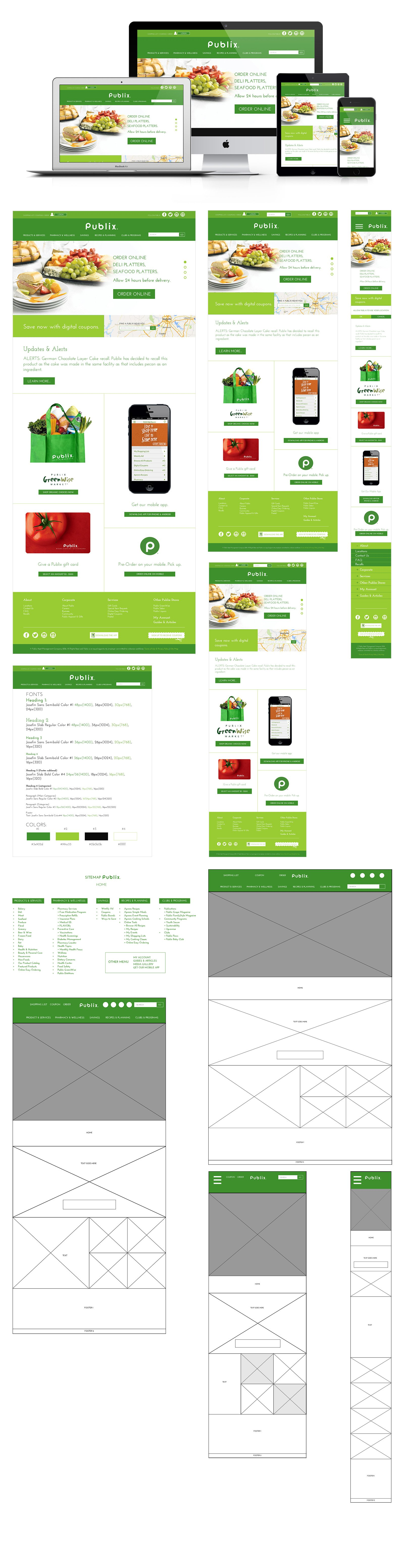 Publix Responsive Website Redesign Mock Project