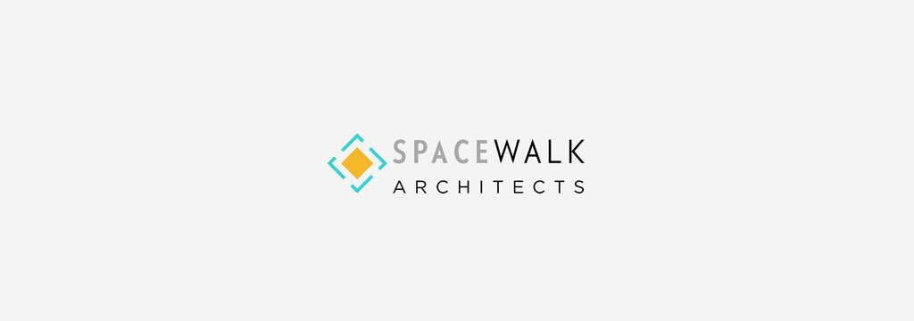 A diamond shaped logo with yellow and dashed turquoise color with Space Walk written in Gray and Black.