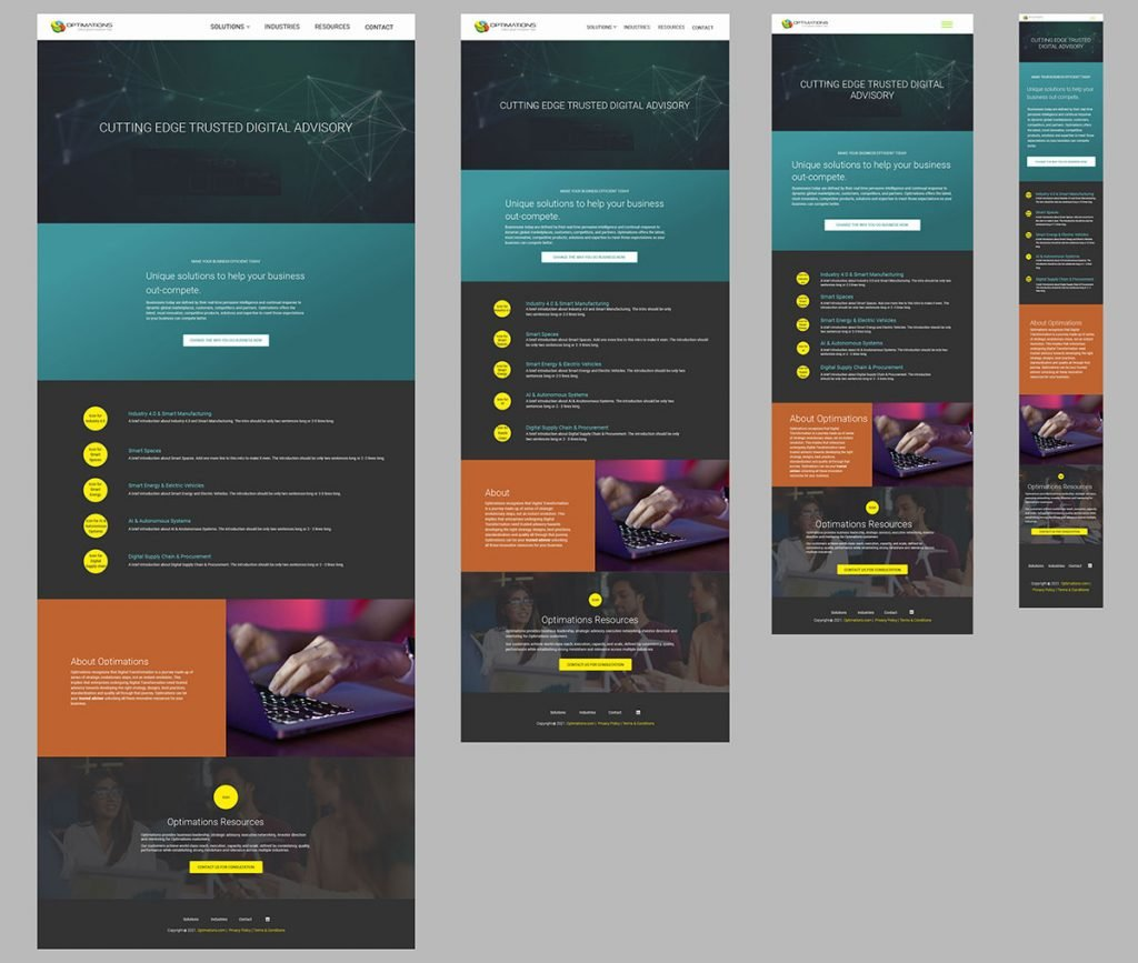 Design for screen sizes: 1440px, 1024px, 768px, 360px